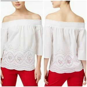 MAISON JULES OFF THE SHOULDER EMBROIDERED TOP